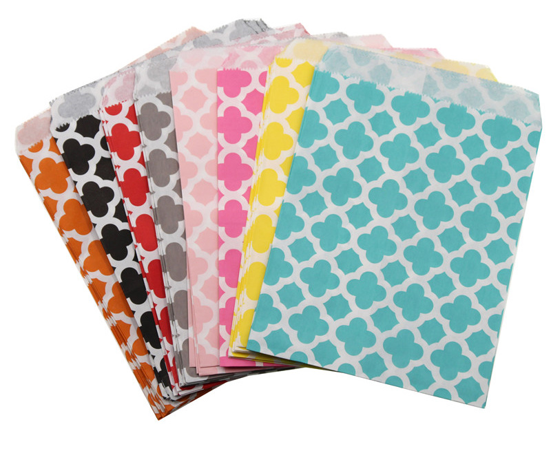Colorful Chevron Flower Grease Food Paper Bags